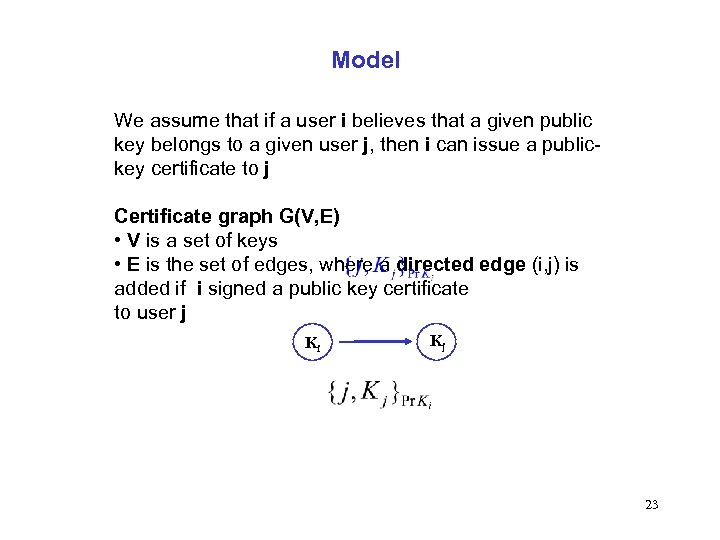 Model We assume that if a user i believes that a given public key