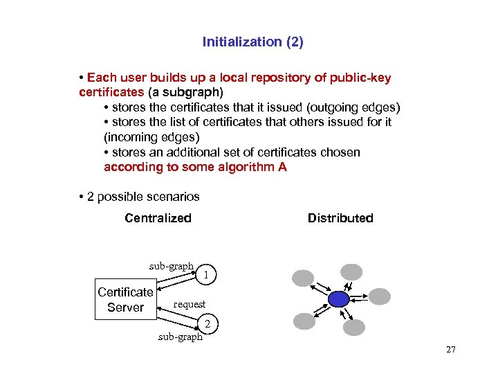 Initialization (2) • Each user builds up a local repository of public-key certificates (a
