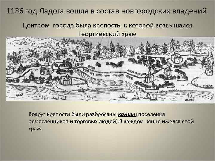 1136 год Ладога вошла в состав новгородских владений Центром города была крепость, в которой