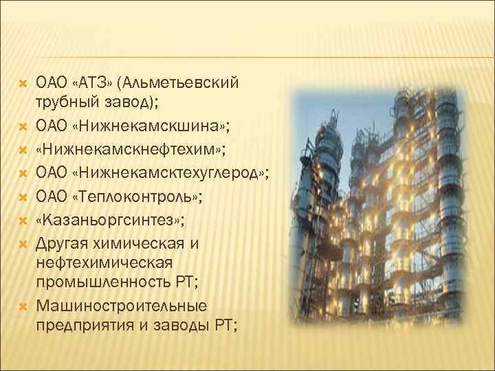ОАО «АТЗ» (Альметьевский трубный завод); ОАО «Нижнекамскшина» ; «Нижнекамскнефтехим» ; ОАО «Нижнекамсктехуглерод» ;