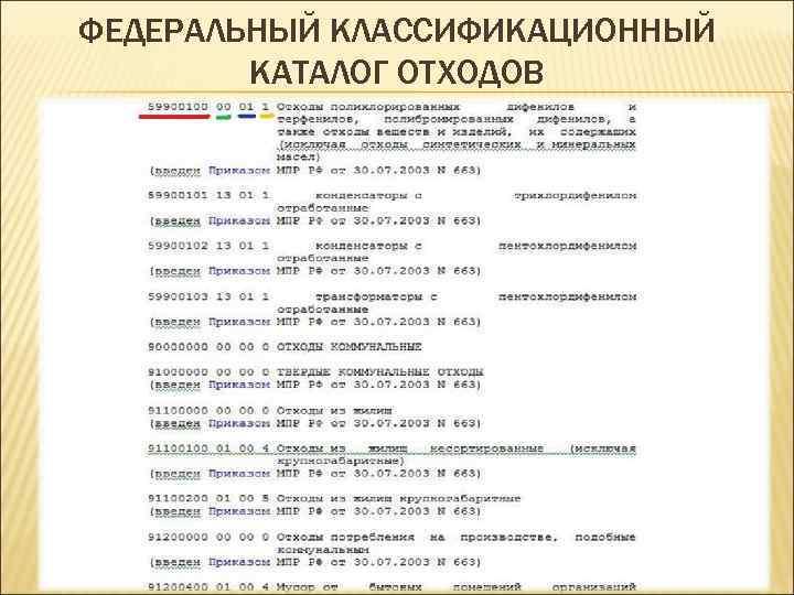 ФЕДЕРАЛЬНЫЙ КЛАССИФИКАЦИОННЫЙ КАТАЛОГ ОТХОДОВ