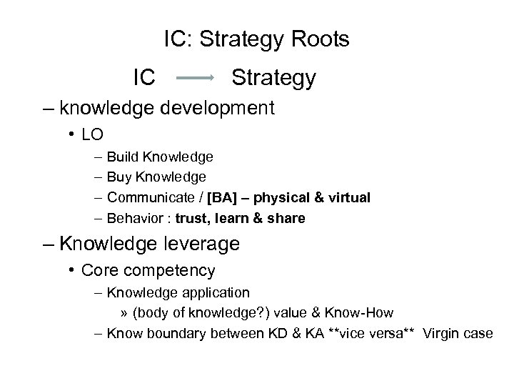 IC: Strategy Roots IC Strategy – knowledge development • LO – – Build Knowledge