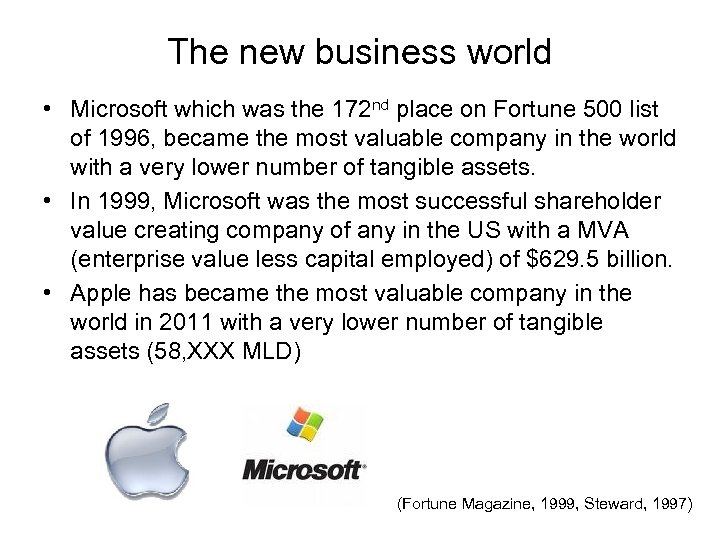 The new business world • Microsoft which was the 172 nd place on Fortune