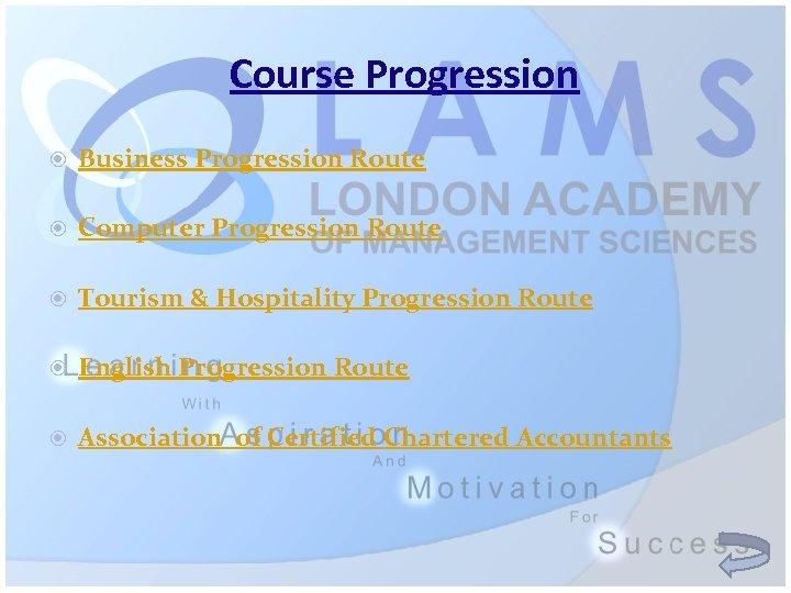 Course Progression Business Progression Route Computer Progression Route Tourism & Hospitality Progression Route English