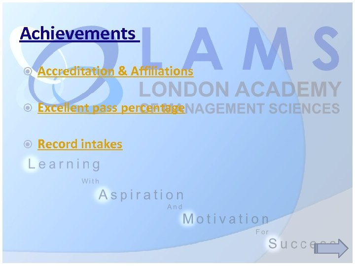 Achievements Accreditation & Affiliations Excellent pass percentage Record intakes