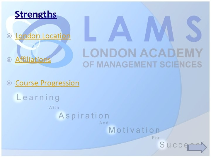 Strengths London Location Affiliations Course Progression