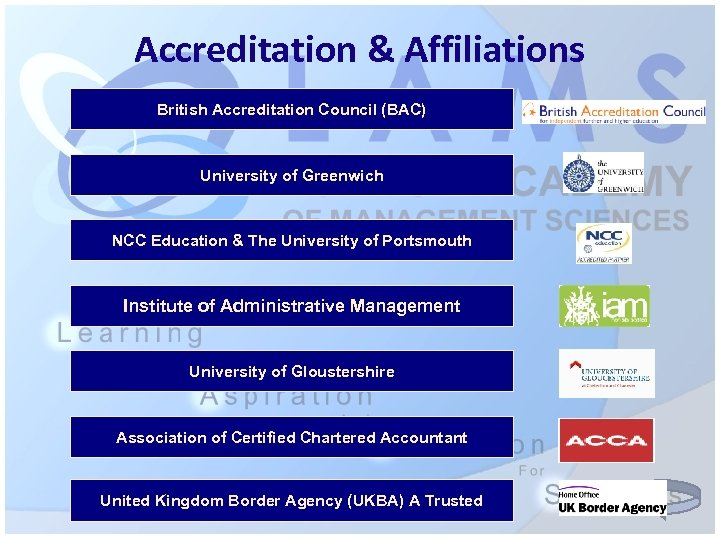 Accreditation & Affiliations British Accreditation Council (BAC) University of Greenwich NCC Education & The