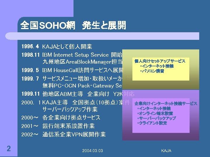 全国SOHO網 発生と展開 1996. 4 KAJAとして個人開業 1998. 11 IBM Internet Setup Service 開始 個人向けセットアップサービス 九州地区Area. Block.