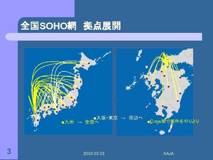 全国SOHO網 拠点展開 ■大阪・東京 → 周辺へ ■Crew間で案件をやりとり ■九州 → 全国へ 3 2004. 03 KAJA