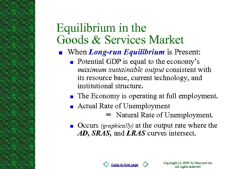 Equilibrium in the Goods & Services Market n When Long-run Equilibrium is Present: n