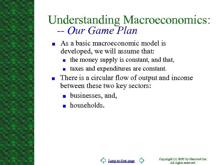 Understanding Macroeconomics: -- Our Game Plan n As a basic macroeconomic model is developed,