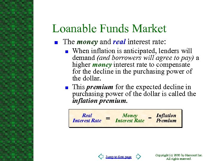 Loanable Funds Market n The money and real interest rate: n n When inflation