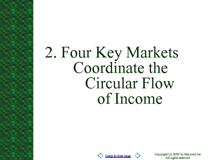 2. Four Key Markets Coordinate the Circular Flow of Income Jump to first page