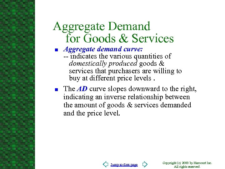 Aggregate Demand for Goods & Services n n Aggregate demand curve: -- indicates the