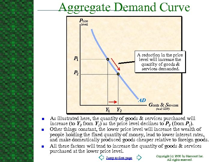 Aggregate Demand Curve Price level A reduction in the price level will increase the