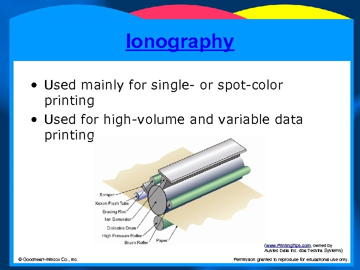 Ionography • Used mainly for single- or spot-color printing • Used for high-volume and