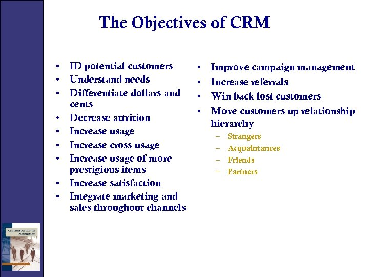 The Objectives of CRM • ID potential customers • Understand needs • Differentiate dollars