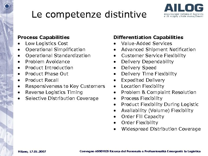 Le competenze distintive Process Capabilities • Low Logistics Cost • Operational Simplification • Operational