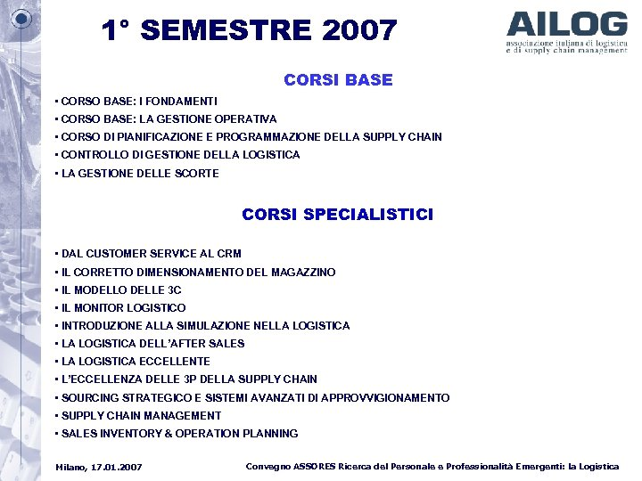 1° SEMESTRE 2007 CORSI BASE • CORSO BASE: I FONDAMENTI • CORSO BASE: LA