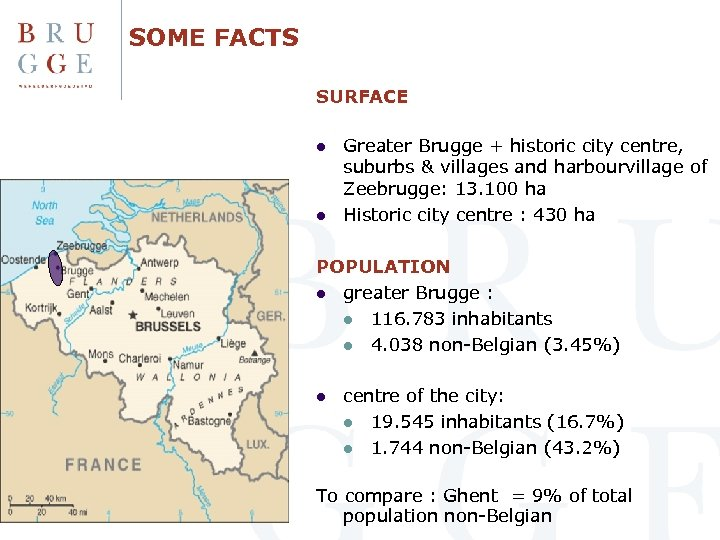 SOME FACTS SURFACE l l Greater Brugge + historic city centre, suburbs & villages