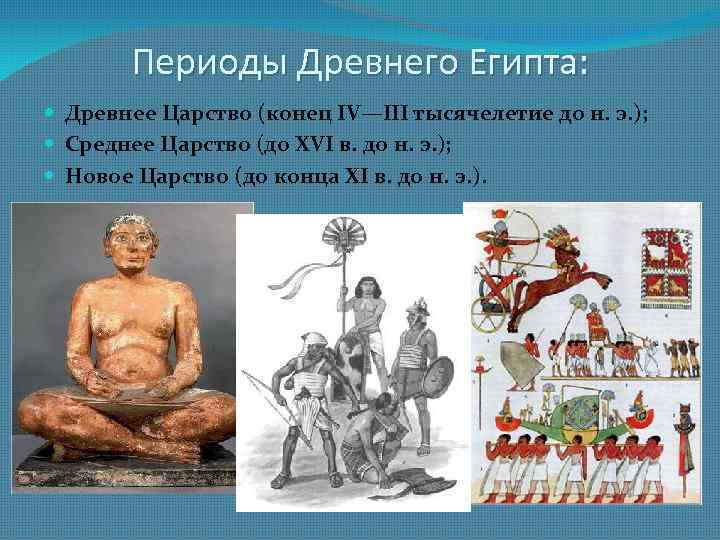 Периоды Древнего Египта: Древнее Царство (конец IV—III тысячелетие до н. э. ); Среднее Царство
