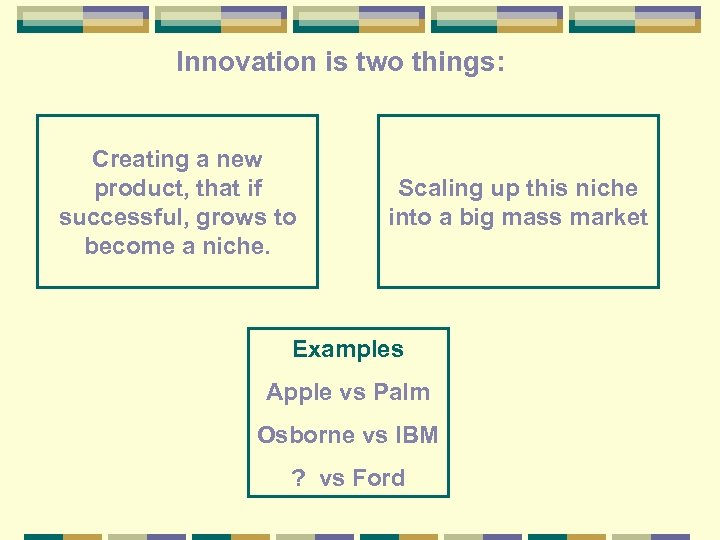 Innovation is two things: Creating a new product, that if successful, grows to become