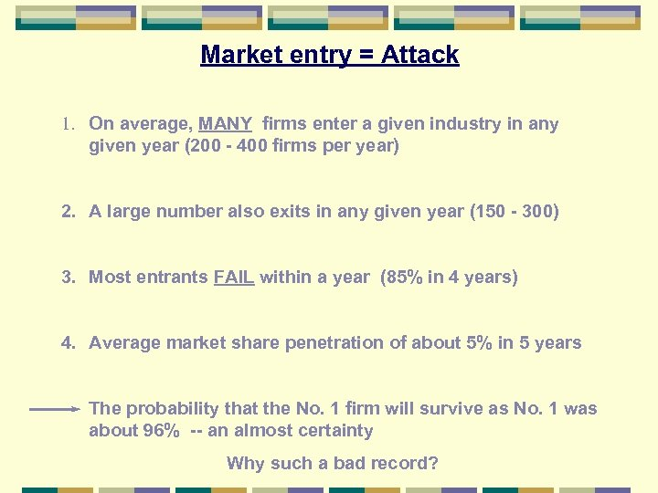 Market entry = Attack 1. On average, MANY firms enter a given industry in
