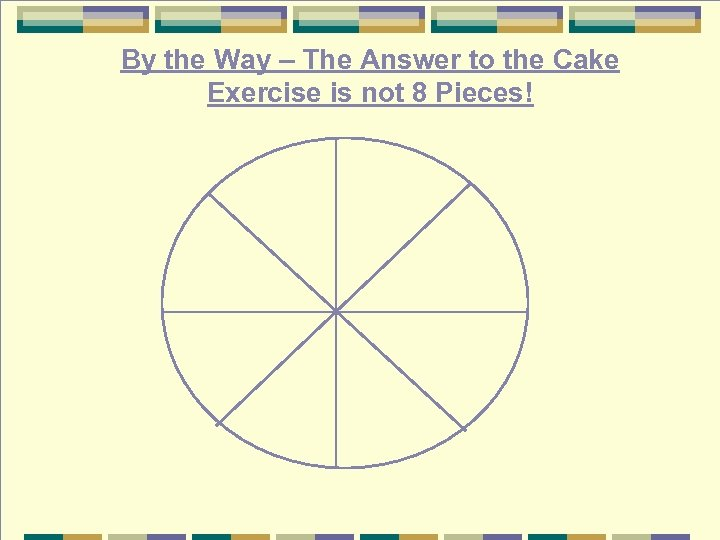 By the Way – The Answer to the Cake Exercise is not 8 Pieces!