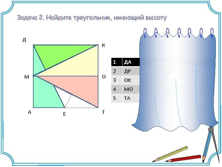 Задача 2. Найдите треугольник, имеющий высоту Д К 1 А О Е Т ΔАДЕ