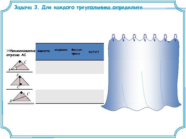Задача 3. Для каждого треугольника определите Наименование высота отрезка АС медиана биссектриса катет высота