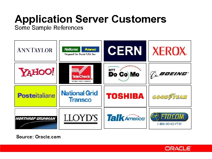 Application Server Customers Some Sample References Source: Oracle. com