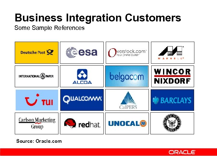 Business Integration Customers Some Sample References Source: Oracle. com