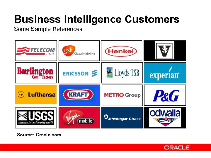 Business Intelligence Customers Some Sample References Source: Oracle. com