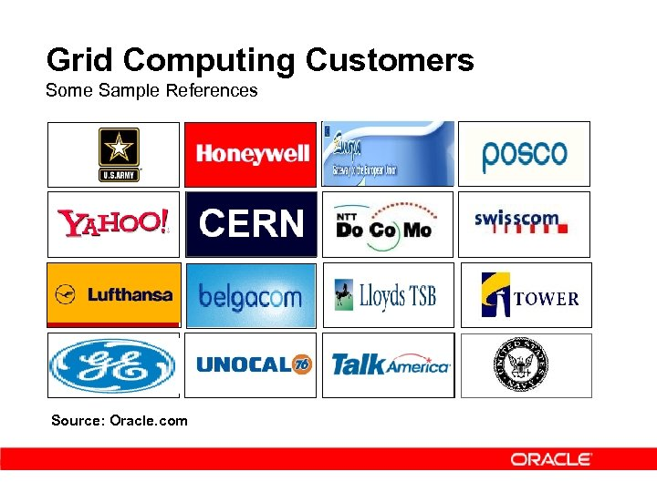 Grid Computing Customers Some Sample References Source: Oracle. com