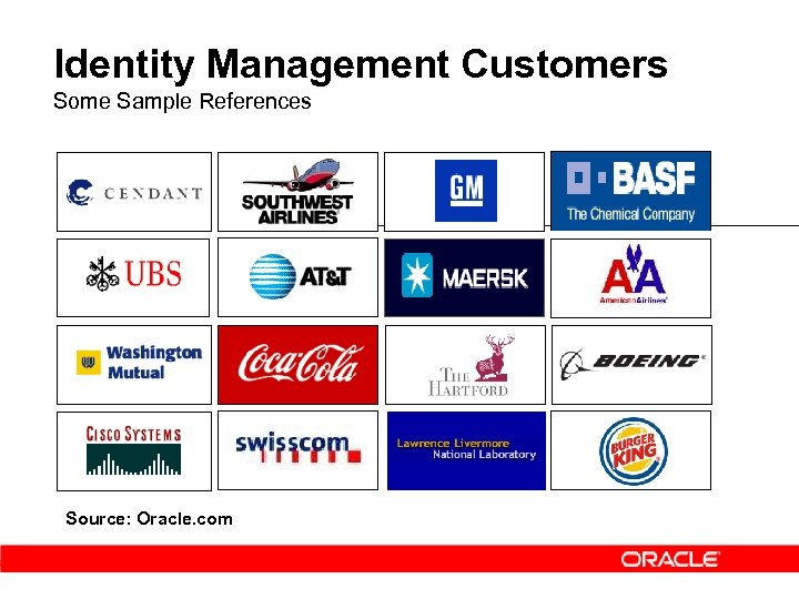 Identity Management Customers Some Sample References Source: Oracle. com