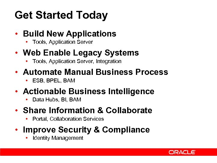 Get Started Today • Build New Applications • Tools, Application Server • Web Enable