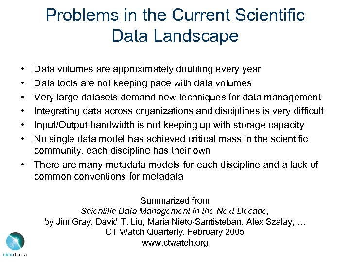 Problems in the Current Scientific Data Landscape • • • Data volumes are approximately