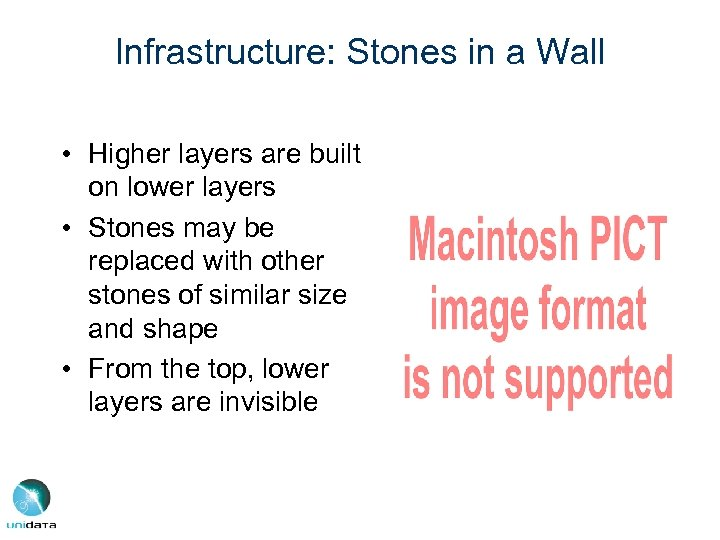Infrastructure: Stones in a Wall • Higher layers are built on lower layers •