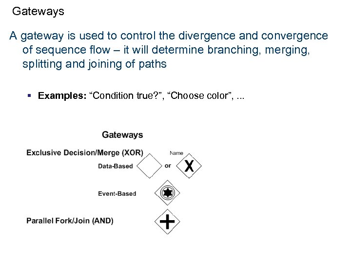 Gateways A gateway is used to control the divergence and convergence of sequence flow