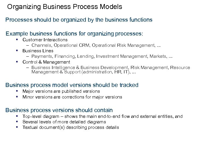 Organizing Business Process Models Processes should be organized by the business functions Example business