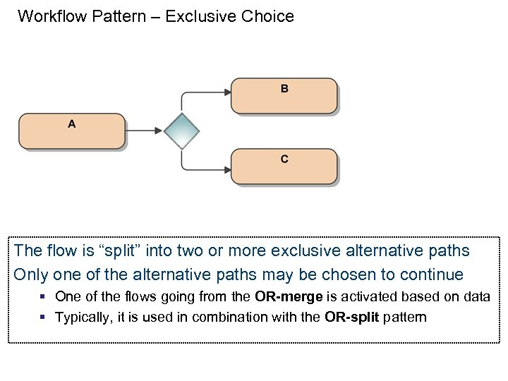 """Workflow Pattern – Exclusive Choice The flow is """"split"""" into two or more exclusive"""