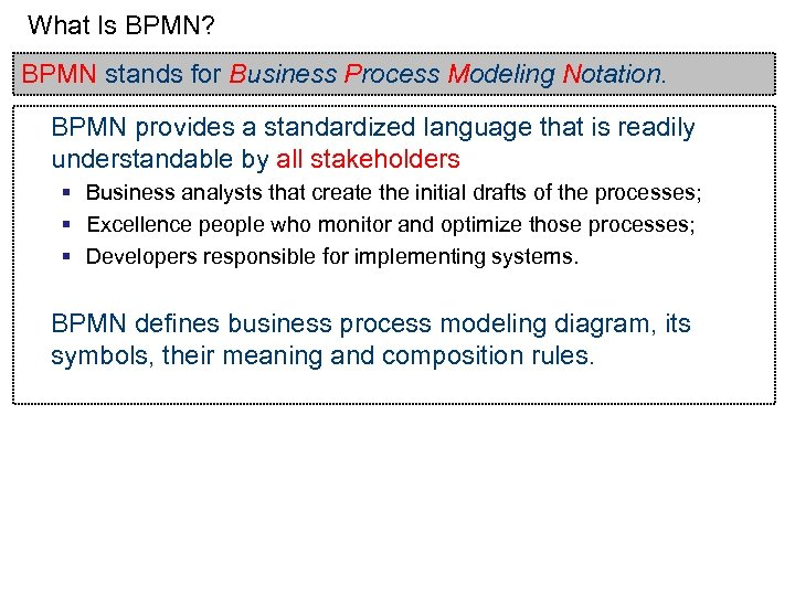 What Is BPMN? BPMN stands for Business Process Modeling Notation. BPMN provides a standardized