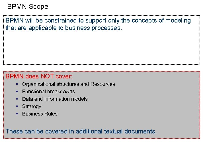 BPMN Scope BPMN will be constrained to support only the concepts of modeling that