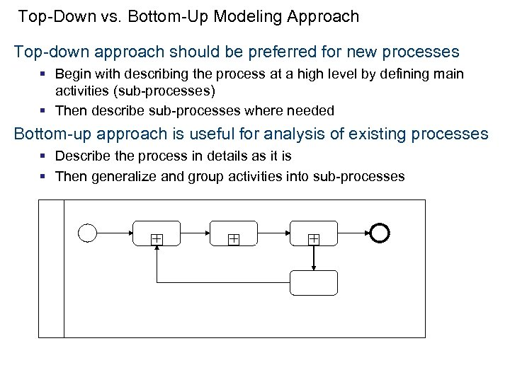 Top-Down vs. Bottom-Up Modeling Approach Top-down approach should be preferred for new processes §