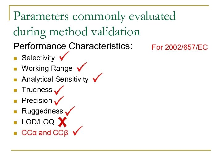 Parameters commonly evaluated during method validation Performance Characteristics: n n n n Selectivity Working