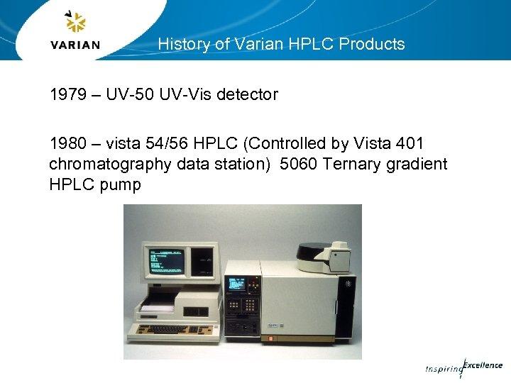 History of Varian HPLC Products 1979 – UV-50 UV-Vis detector 1980 – vista 54/56