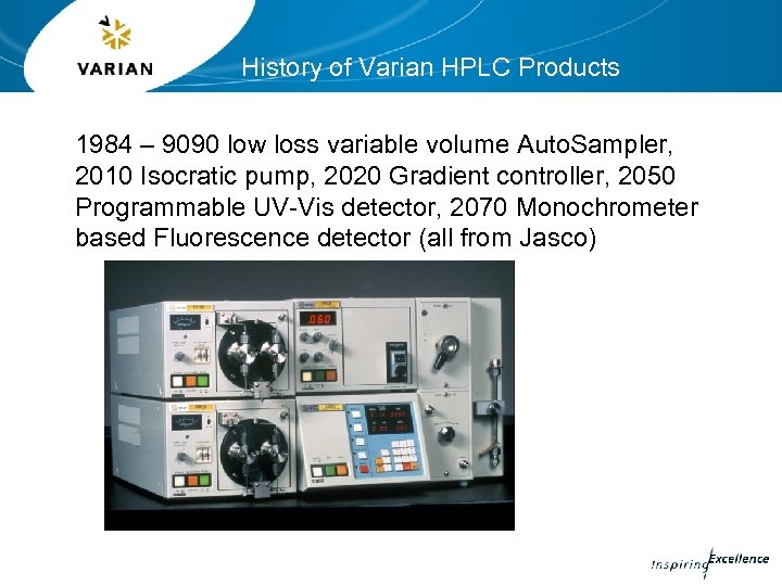 History of Varian HPLC Products 1984 – 9090 low loss variable volume Auto. Sampler,