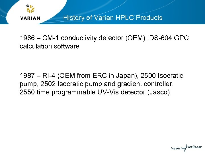 History of Varian HPLC Products 1986 – CM-1 conductivity detector (OEM), DS-604 GPC calculation