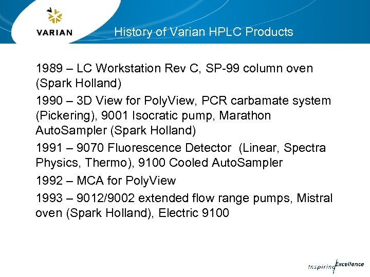 History of Varian HPLC Products 1989 – LC Workstation Rev C, SP-99 column oven