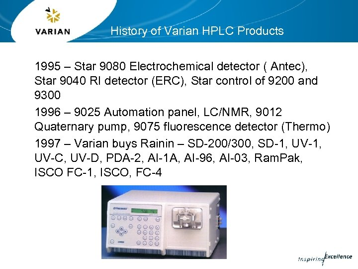 History of Varian HPLC Products 1995 – Star 9080 Electrochemical detector ( Antec), Star